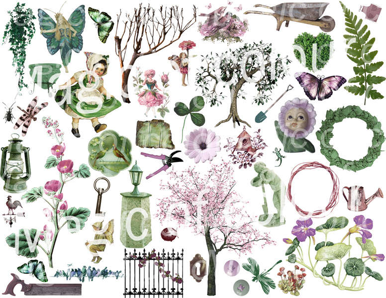 Green and Pink Garden Illustration