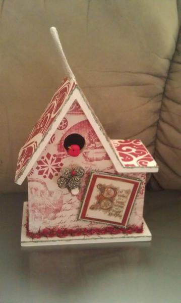 Christmas altered bird house