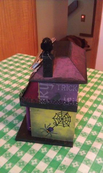 Halloween altered bird house