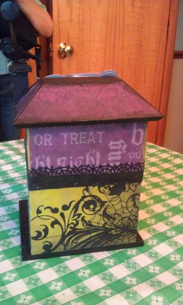 Halloween altered bird house