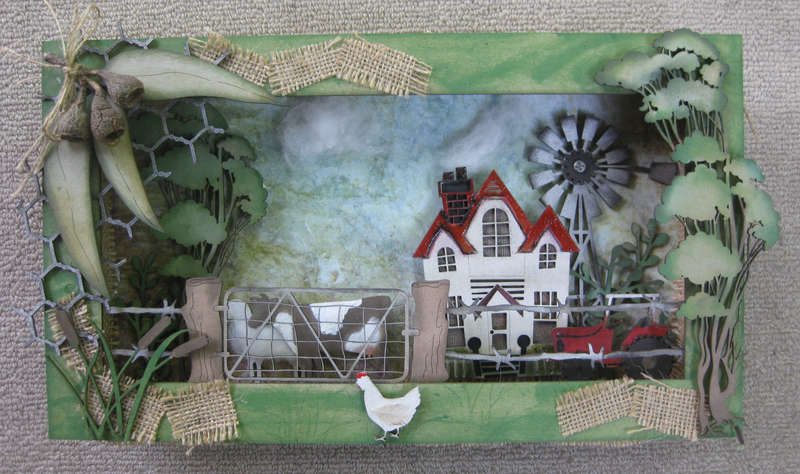 Farm Scene Shadow Box