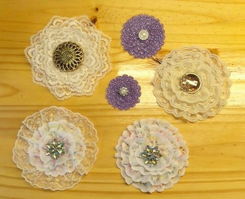 """Handmade Lace, Ribbon and Trim """"Flowers"""""""