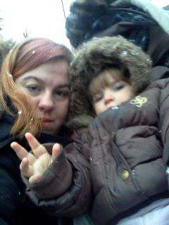 my lil girl and i in the snow