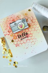 Hello Card with Distress Ink Background