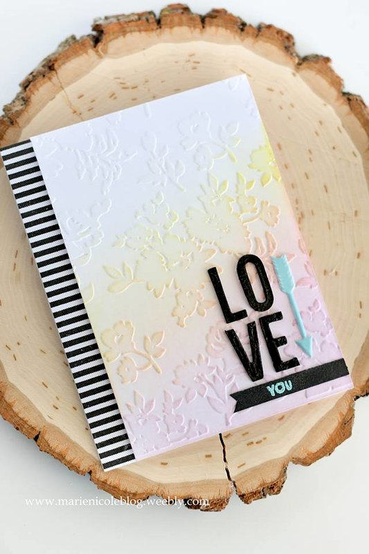 Love You- Embossed and Distress Ink Background