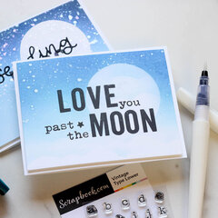 Ink Blended Moon- Custom Stamped Sentiment