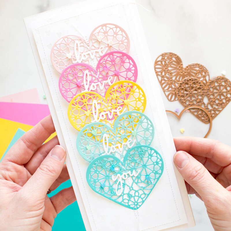 Die Cut Hearts with Stitching Details