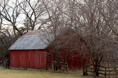 The red barn in winter.