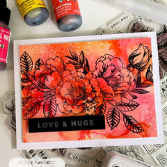 Love & Hugs Card with Alcohol Inked Background