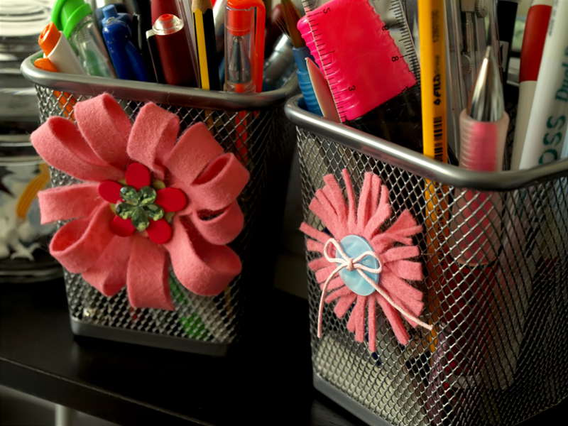 Felt flowers for my IKEA containers