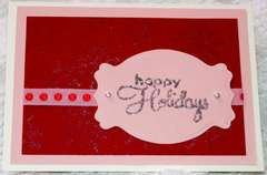 Happy holidays pink and burgundy card
