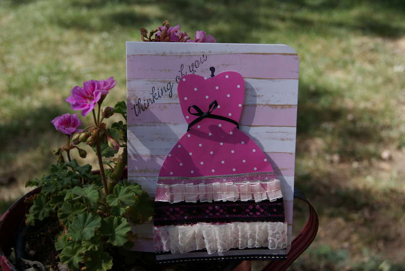 Pink and black dress card