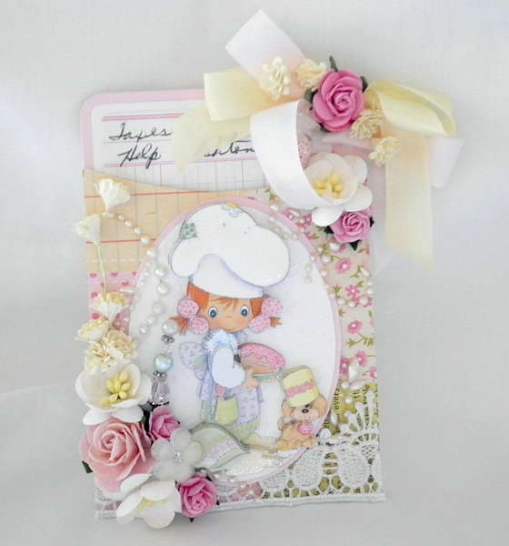 Shabby Chic little Girl Pocket and Tag