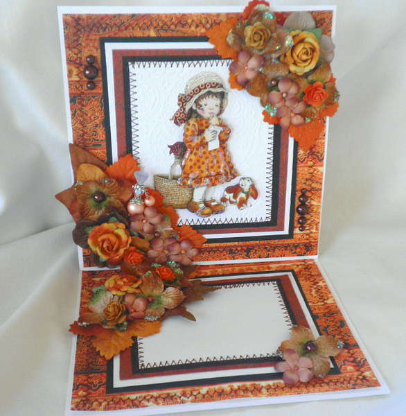 Fall Thanksgiving Lil Girl 3D Fold Out Card