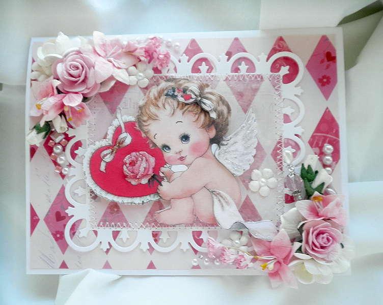Shabby Chic Angel Baby Valentines Card