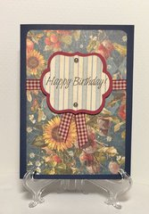 Blue/Sunflower Birthday Card
