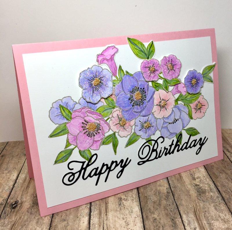 Happy Birthday Petunia Floral Card