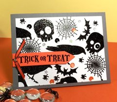 Halloween black glitter card