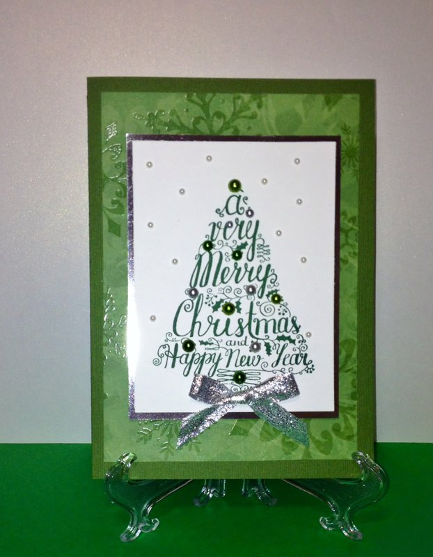 Green and silver Christmas tree card