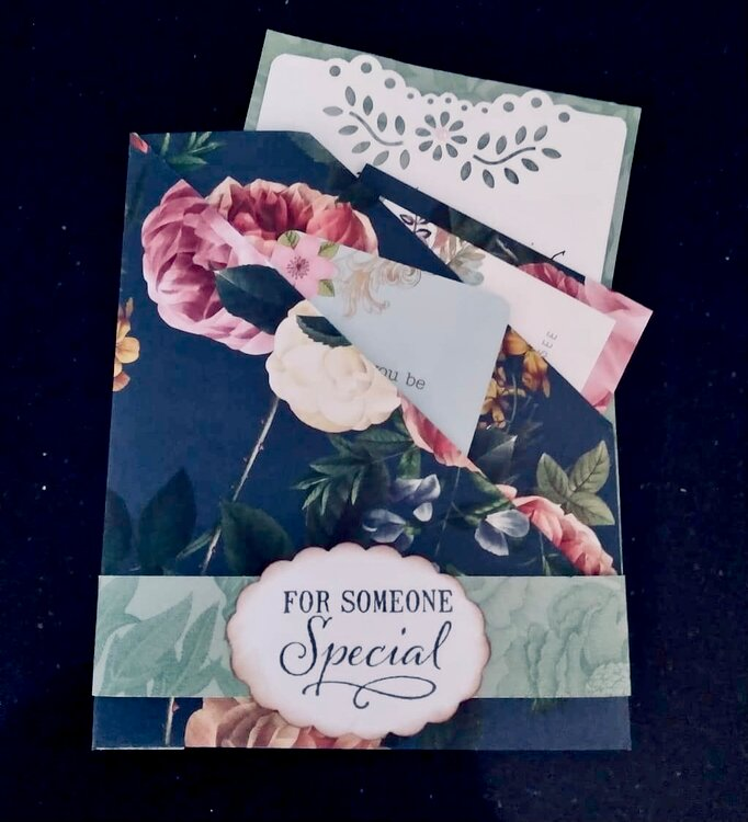Floral double pocket card