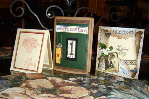 3 cards - sympathy, Father's Day, & wedding