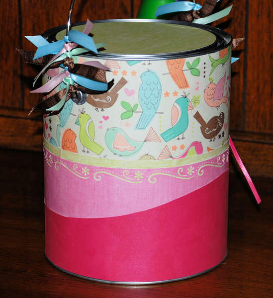 Paint can for baby shower