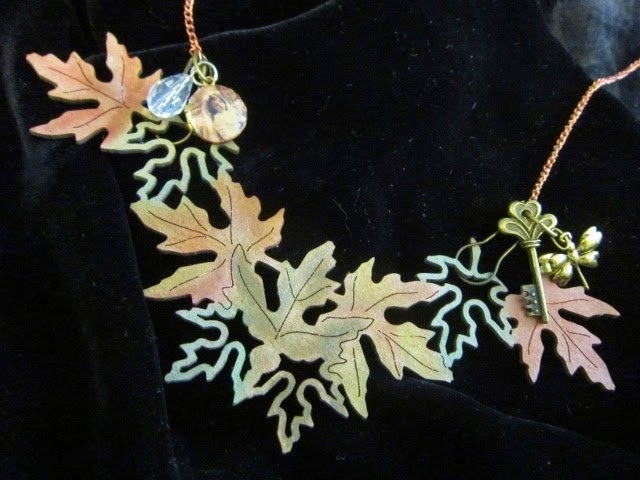 Autumn Necklace with Leaky Shed Studio chipboard