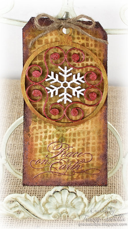 """""""Peace on Earth"""" Christmas Ornament Tag by DT Tracey Sabella"""