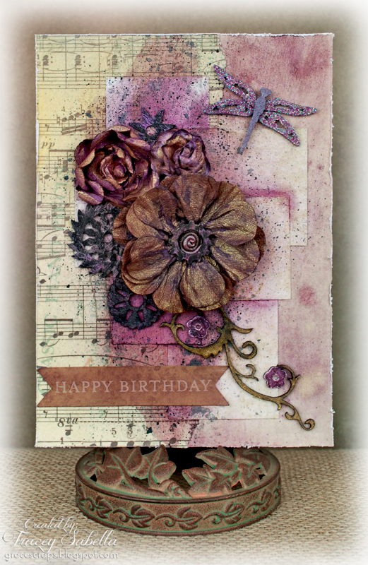 Girlie Grunge Birthday Card Featuring Leaky Shed Studio Chipboard