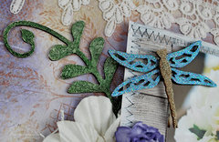 Wedding Flowers Layout Featuring Fern Flourish, Spring Dragonfly