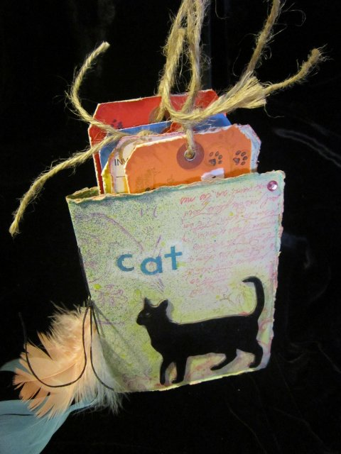 hand bound mini book of cats and quotes