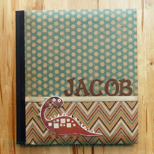 Teal and Brown Chevron Dino Baby Book