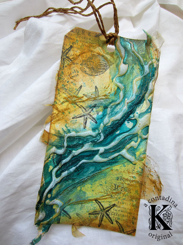 """Ebb and Flow"" Mixed Media Tag"