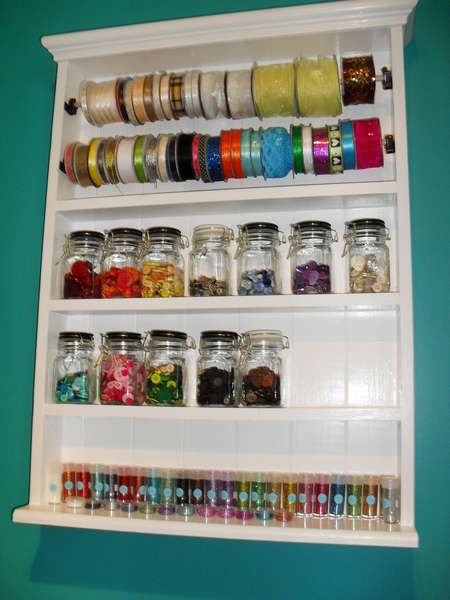 So still need 2 jars but filled it..up...My Husband Made these shelfs for me / with my design