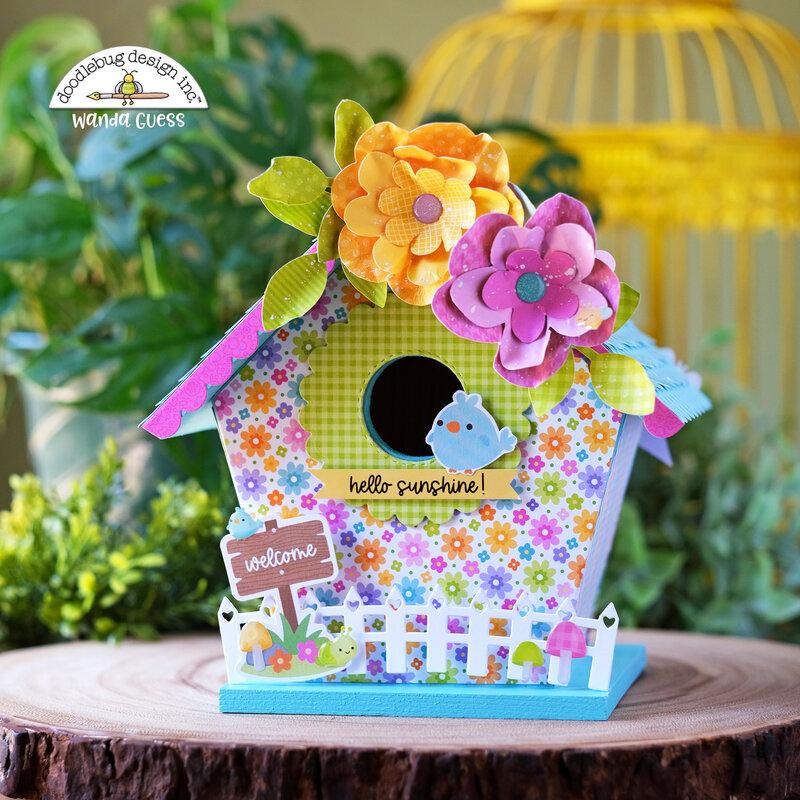 Spring Birdhouse with Doodlebug Fairy Garden Collection!