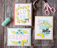 Trio of cards with new products from Right At Home STamps