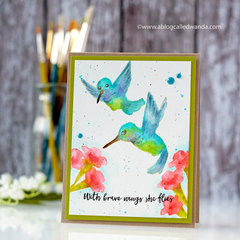 No Line Watercoloring - Hero Arts Hummingbirds