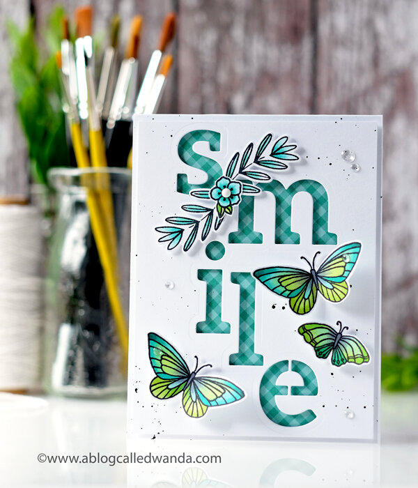 Smile! Butterfly card with Pinkfresh Studio
