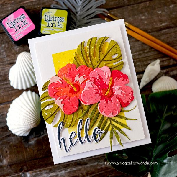 Altenew Hibiscus Garden Card with Distress Inks