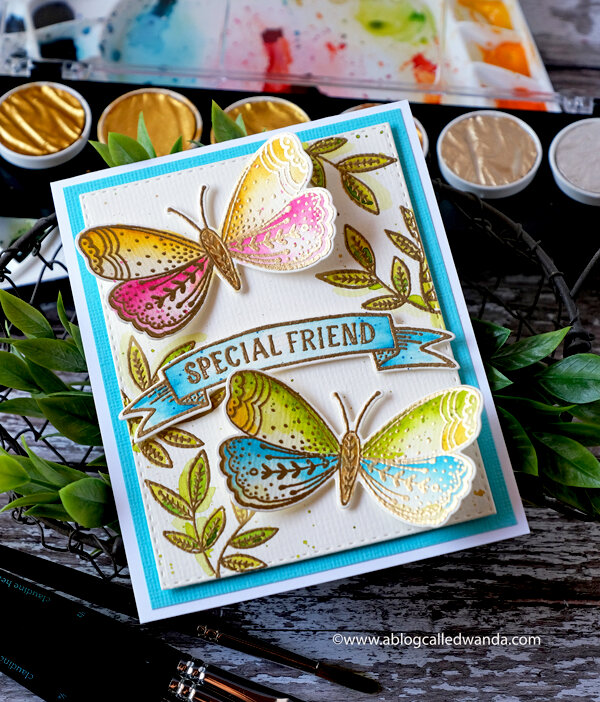 Watercolor Butterfly Garden with Penny Black Stamps