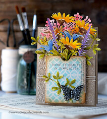 Watercolor Wildflowers Card with Tim Holtz Products