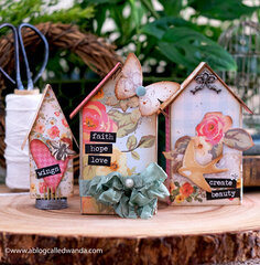 Tiny Houses for Spring - Mixed Media Project and Home Decor