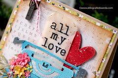 All My Love Typewriter Card with Tim Holtz Supplies