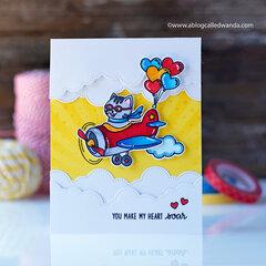 You make my heart soar! Cute airplane card!
