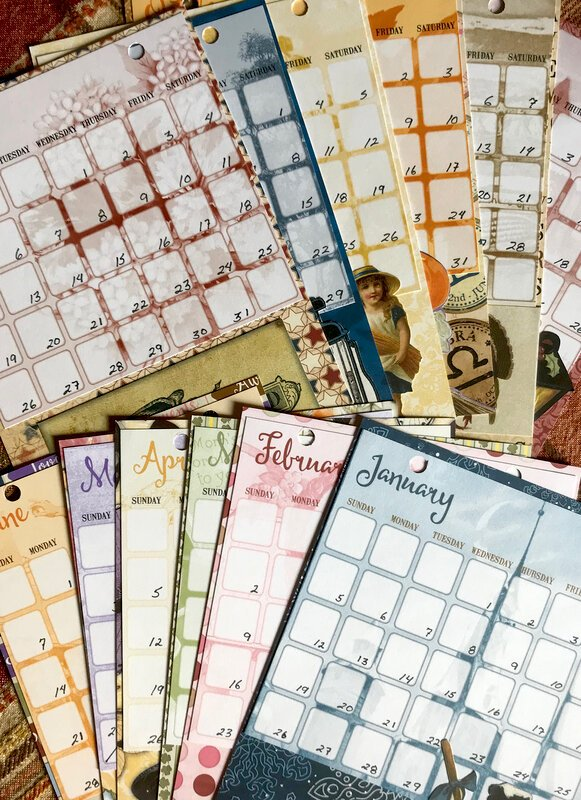 Altered Clipboard Calendar Pages