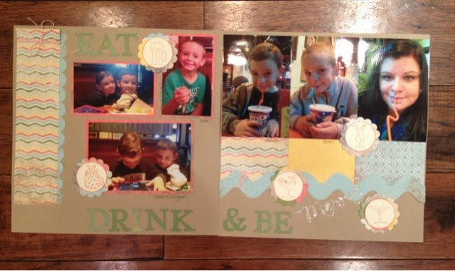 Using Stampin' Up stamps in Scrapbooking- Eat, Drink and Be Merry
