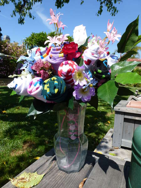 Sock flower bouquet!