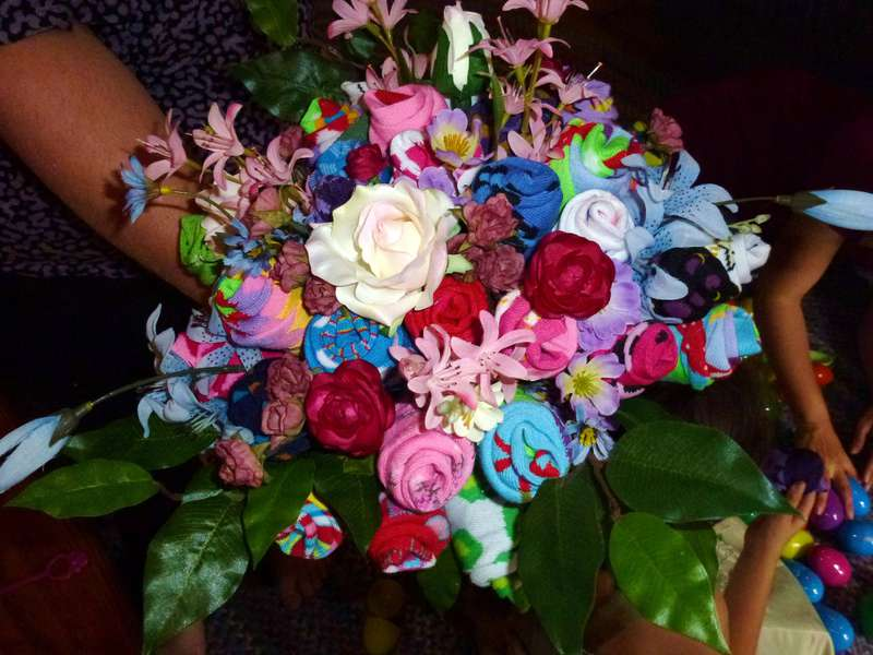 Sock bouquet - view from above.