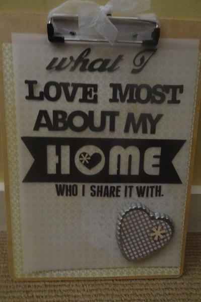 """my home"" clipboard wall hanging"