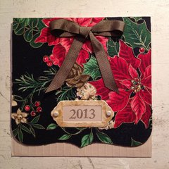 Fabric Poinsettia card